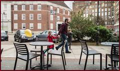 The hidden balloon (Nodding Pig) Tags: birmingham gostagreen aston university fire station costacoffee passersby balloon astonstreet 201604232519101cropborder england uk greatbritain 2016