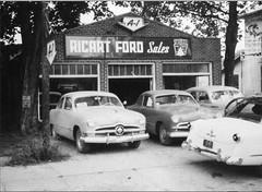 Ricart Ford (blue65pv544) Tags: 1949 1950 1951 1952 1953 ford shoebox flathead dealership ricart groveport ohio vintage bw