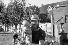 Henry with Daddy in his new hat (tercrossman87) Tags: yashica electro 35 gx ilford delta 100 kodak xtol 11 film home development epson v550 filmdev:recipe=10952 ilforddelta100 kodakxtol film:brand=ilford film:name=ilforddelta100 film:iso=100 developer:brand=kodak developer:name=kodakxtol