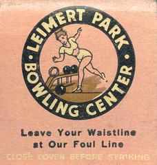 Leimert Park Bowling Center (jericl cat) Tags: matches matchbook match illustration vintage losangeles paper ephemera restaurant dining cocktail leimert park bowling center bowl pin