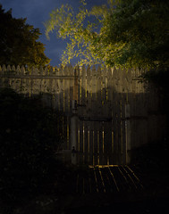365-308 ( estatik ) Tags: 365308 365 308 september172016 sept 91716 saturday sat newhope pa pennsylvania buckscounty night longexposure fence no trespassing gate light dark shadow detail mansioninn pool area out back panorama