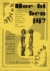 1994 Pinkeltje MishMash: hoe bi ben jij? (www.lesbischarchief.nl) Tags: dito affiche lhbt pinkeltjehomojongeren rozegeschiedenis villalila nijmegen poster 1994 coc