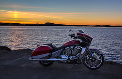 Victory in sunset (Siggi007) Tags: motorcycle motorbike motorrad motor mc ride riding sunset evening nature sea seaside silhouette sky colors victory magnum usa power ocean colores colorfull farben sun himmel horizon engenering engine pose norway water orange exposure relaxing travel tranquil outdoor ocanos photo picture portrait panorama perfect awesome abend autumn scenery scene serene seascape foto flickr contrasts canoneos6d canon coast beautiful norwegen mood driving vehicle bike autofocus