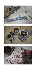 Someday You Will Die (diana.randles) Tags: typography thingslearned death toothpaste sunglasses flowers petals flowerpetals experimentaltypography type 3d lettering triptych everydayobjects ordinary reminder