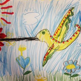 365/347 • hummingbird • #2014_ig_347 #zoe #6yo #drawing #pencil #art #birds #latergram