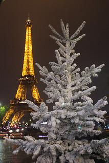 Christmas tree and Eiffel Tower. Paris.