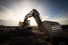 After work (bernd obervossbeck) Tags: volvo site wideangle baustelle ruhrgebiet buildingsite digger excavator bagger weitwinkel haldehoheward canonefs1022 canoneos60d