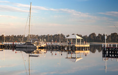 Lakes Entrance (laurie.g.w) Tags: sunset water boats evening coast harbour jetty lakes entrance east wharf boardwalk channel gippsland