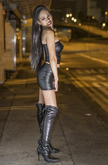 waiting for a ride (sexy kutinghk) Tags: asian erotic sexy filipina girl woman slim skinny bodycon dress mini skirt tight short minidress boots thigh over knee heels