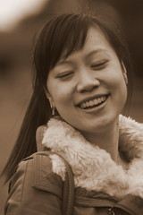 Angelic Angela (BenValjean) Tags: china autumn girls portrait woman cute sexy girl beautiful beauty smile face smiling sepia lady female portraits canon pose hair asian person eos nice eyes asia pretty photoshoot sweet outdoor feminine gorgeous chinese adorable naturallight babe cutie lips teen talent teenager lovely charming oriental dslr angela photoshoots talented delightful teenage   girlnextdoor  500d  eos500d benjamingoodacre goodacrephotography bengoodacre  eangela