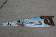 """Hand painted Disston U.S.A. saw (sherrylpaintz) Tags: wood flowers original trees winter sunset sky usa snow nature stone pine barn forest sunrise woodland river painting season cabin fireplace colorful acrylic natural ooak decorative painted wildlife smoke country logs birdhouse indiana deer buck patina northwoods realism primitive décor realistic 2014 """"red art"""" artist"""" """"winter handsaw trees"""" wood"""" """"weathered painting"""" """"wall """"wildlife """"folk birdhousepainting """"log """"pine saw"""" foliage"""" cabin"""" """"acrylic """"whitetail barn"""" blade"""" """"saw buck"""" sherrylpaintz """"disston"""