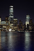 World Trade Center with reflections (Lojones13) Tags: newyork reflection water night canon river manhattan worldtradecenter eoskissx3