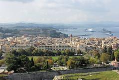 Corfu-Kerkyra: view from the landward pinnacle of the Old Fortress (Monopthalmos) Tags: esplanade corfu kerkyra oldfortress newfort spianada stspyridon europeancricket