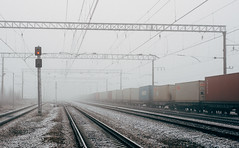 19 November (aavduevskiy) Tags: railroad november winter mist snow fall nature fog train smog frost silent ghost hill perspective saintpetersburg plain myst silenthill metallostroy truedetective