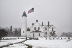 point iroquois lighthouse, chippewa county, michigan (twurdemann) Tags: winter lighthouse mist snow weather fog museum architecture landscape unitedstates michigan scenic americanflag whitefishbay upperpeninsula lakesuperior brimley redroof northernmichigan stmarysriver chippewacounty pointiroquois baymills ojibwe hiawathanationalforest deactivated nikcolorefex capecodstyle pointiroquoislighthouse detailextractor xf1855mm nadouenigoning