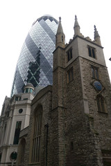 Old vs New (blacksplat) Tags: new old london church glass st stone architecture modern skyscraper canon ancient mary andrew axe gherkin htc undershaft