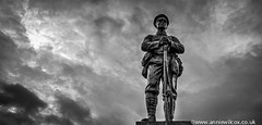 Remembering (AnnieWilcoxPhotography) Tags: uk greatbritain england sky blackandwhite bw sculpture cloud texture nature ecology monochrome statue clouds landscape soldier blackwhite nikon memorial scenery europe skies shropshire britishisles unitedkingdom britain landscaping ironbridge worldwarone british ww1 1914 greatwar environmentalism hdr highdynamicrange worldwar hdri ecosystem photomatix photographytechnique d7000 arthurgeorgewalker anniewilcox wwwanniewilcoxcouk