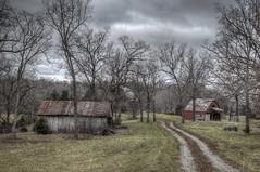Barns....Three of Them (Jon Dickson Photography) Tags: road wood sky barn rural forest cool country barns stormy eerie missouri wonderous barren hillbilly hdr redbarn