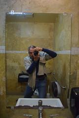 Self-Portrait, Kafe Neo (jjldickinson) Tags: nikond3300 101d3300 nikon1855mmf3556gvriiafsdxnikkor promaster52mmdigitalhdprotectionfilter kafeneo restaurant fourthstreet 4thstreet selfportrait jacobdickinson metaphotography bathroom mirror camera longbeach