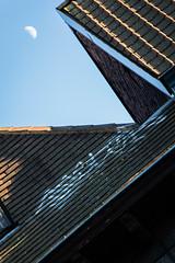 Winter Afternoon, Moon&Graffiti (louisverplancken) Tags: street roof winter sky moon art canon eos graffiti paint afternoon belgium belgique painted tag minimal roofs simplicity simple minimalist tournai 100d
