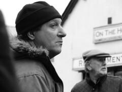 Looking. Dec 2014 (SimonHX100v) Tags: street people blackandwhite monochrome leicestershire leicester streetphotography greyscale oap meltonmowbraymarket meltonmarket