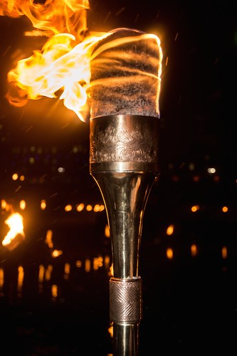 The torch is lit. Photo by Jen Bonin.