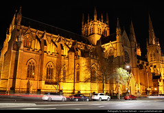 St Mary's Cathedral @ Night, Sydney, Australia (JH_1982) Tags: street new light building cars luz church st wales architecture night dark religious lights noche catholic glow darkness cathedral nacht roman lumire south religion sydney australia landmark christian nsw marys glowing christianity australien nuit notte dunkel beleuchtung australie     archdiocese beleuchtet leuchten         sdney