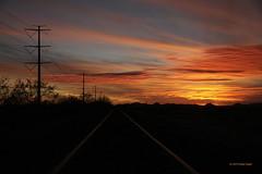 Arizona Sunset (RDegler) Tags: sunset arizona sky usa tree clouds powerlines railroadtracks santanvalley