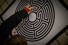 Tracing - Piccadilly Circus Labyrinth (MoreToJack) Tags: aotu art artontheunderground black child fingers kid labyrinth london londonunderground lu markwallinger maze piccadillycircus point puzzle red square station tube underground vitreousenamel wallinger young railway