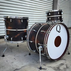If you are near Dallas, TX, you should stop by @lonestarperc to check out this Mahogany drum set! Black distressed satin stain with antique white marine pearl inlays. Sounds amazing!! #qdrumco #mahogany #drums #lonestarpercussion