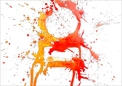 Spatter Painting No.31... (Dave Whatt) Tags: red orange abstract colour art painting surrealism splash blackink spatter