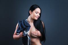 H (Barry_Madden) Tags: smile female scarf portraits model photoshoot longhair boudoir inside eyesclosed youngwoman darkhair homestudio finnishwoman impliednude finnishgirl hennat portraits2016