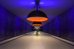 Westfriedhof     *Explore* (sarah_presh) Tags: blue red station germany underground munich lights metro platform illuminated westfriedhof nikond750