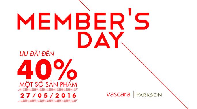 Vascara Parskon - Member's Day - Ưu đãi đến 40% một số sản phẩm