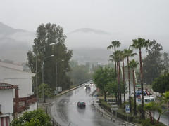 Spain, Andaluca (LidyvN) Tags: road city mist mountain tree car rain weather shower grey andaluca spain traffic palmtree outlook sight crtama