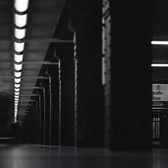Lined Up (ucn) Tags: berlin trainstation pillars lichtenberg pfeiler agfarodinal rolleiflexsl66 sonnar250mmf56 developer:brand=agfa developer:name=agfarodinal adoxcms20ii filmdev:recipe=10847