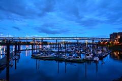 DSC_7021 (ThePangalactic) Tags: bridge sky color colors night clouds marina river portland boats dock colorful yacht dusk bridges