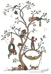 Reading tree (tanaudel) Tags: reading readers books calendar tree bookshelf