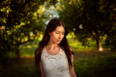 Melissa Glow (Oooah!) Tags: trees sunset portrait sexy beautiful beauty fashion alaska model glow orchard actress inuit goldenhour goldenlight lacedress sonya7 ilce7 melissakramer