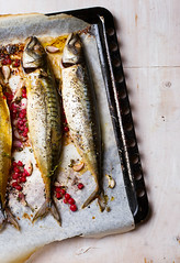 mackerel - a grill with red currant (Zoryanchik) Tags: sea food fish cooking dinner lunch cuisine mackerel restaurant healthy spice plate fresh grill gourmet delicious barbecue meal seafood oily diet cooked grilled fried baked prepared redcurrant