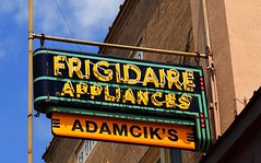 Adamcik's Frigidaire Appliances (Rob Sneed) Tags: vintage downtown neon texas coloradoriver brand townsquare frigidaire lagrange fayettecounty brandname appliancestore highway71 frigidaireappliances adamciks adamciksfrigidaireappliances