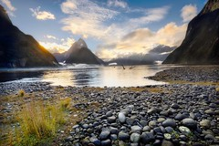 Milford Sound, South Island, New Zealand. (Aaron Bishop Photography) Tags: milford sound newzealand southisland sandfliecity mitrepeak rocks goldenhour ngc aotearoa aaronbishopphotography nz fiordland national park west coast