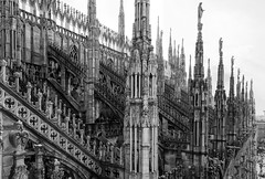 Celestial Organ Pipes (John Maloney FSA Scot) Tags: italy milan cathedral europe blackwhite gothic