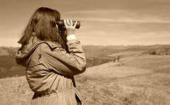 Searching for Signs of Life (simbajak) Tags: binoculars turquoise wyoming park national yellowstone sepia searching wifey jacket ring explored hood