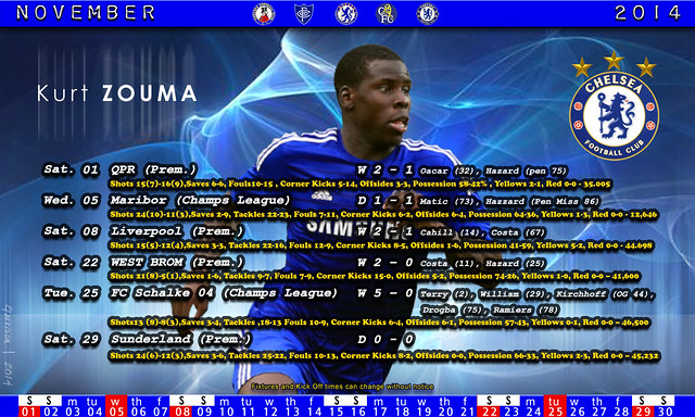 Chelsea fixtures and results - November 2014