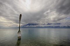 Vevey art installation (Rich3012) Tags: sky lake art clouds switzerland geneva fork installation vevey lakescape