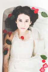 (stasiekphoto) Tags: red green water look rose flow bath dress redrose stare bathtub gaze bathtubshoot bathtubportrait bathtubphotoshoot