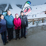 Christine Andison, Don Thompson (VP & GM of RED Mountain Resort), Kathy Moore (Mayor of Rossland) and Mike martin (Mayor of Trail and Past General Manager of TECK Operations, Trail BC) PHOTO CREDIT: Ryan Flett