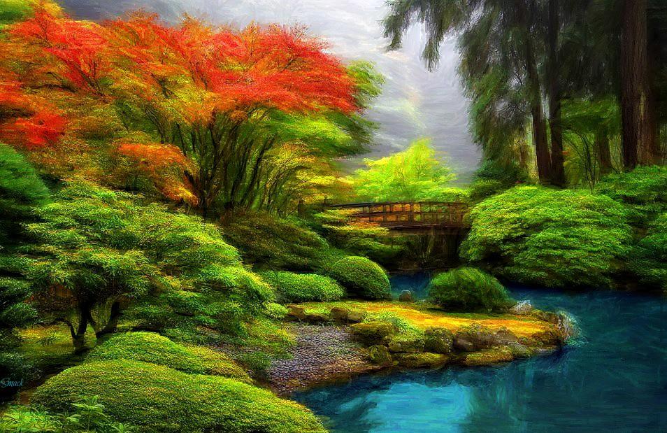 japanese garden bob smerecki tags auto bridge trees sunset water smart digital pencil
