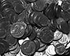 2014_1118Spare-Change-B&W0001 (maineman152 (Lou)) Tags: november bw coin coins maine change bwphoto blackandwhitephoto madmoney rainydayfund christmasstashofcoins savedpocketchange